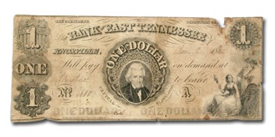1855 Bank of East Tennessee, Knoxville $1.00 Note TN-55 VG