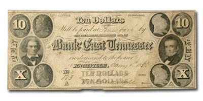1855 Bank of East Tennessee, Knoxville $10 Note TN-55 VF