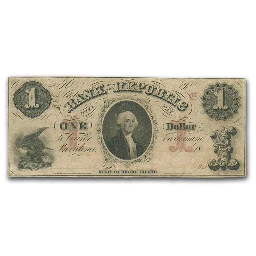 1855 Bank of the Republic, Providence, RI $1 RI-385 VF