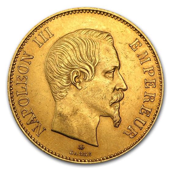1855-BB France Gold 100 Francs EF Napoleon III