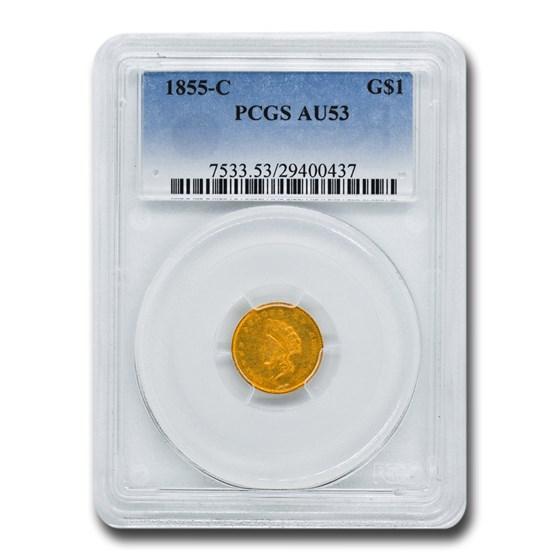 1855-C $1 Indian Head Gold AU-53 PCGS