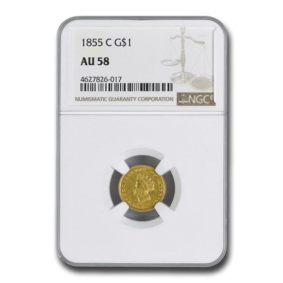 1855-C $1 Indian Head Gold Dollar AU-58 NGC