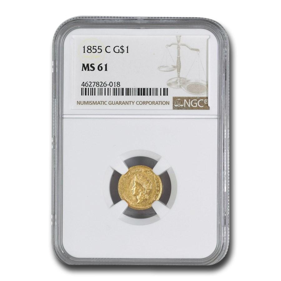 1855-C $1 Indian Head Gold Dollar MS-61 NGC