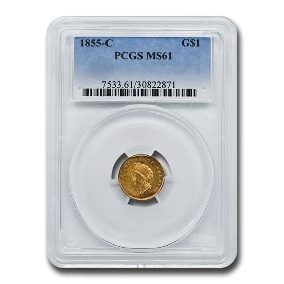 1855-C $1 Indian Head Gold Dollar MS-61 PCGS