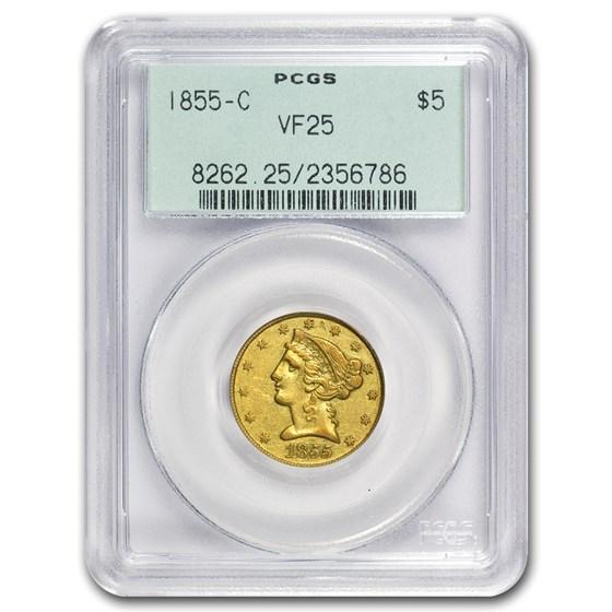 1855-C $5 Liberty Gold Half Eagle VF-25 PCGS (OGH)