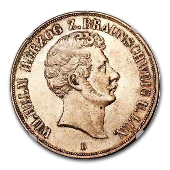 1855 German State Brunswick Silver 2 Thaler Wilhelm MS-66 NGC