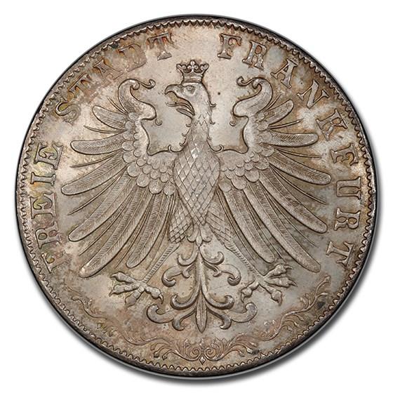 1855 German States Frankfurt am Main Silver 2 Gulden MS-67 PCGS