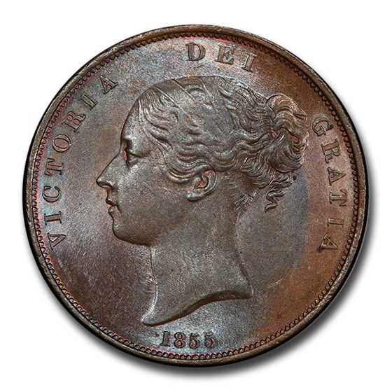 1855 Great Britain Copper Penny Victoria MS-64 PCGS (Brown)