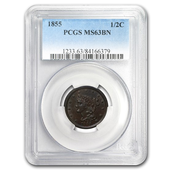 1855 Half Cent MS-63 PCGS (Brown)