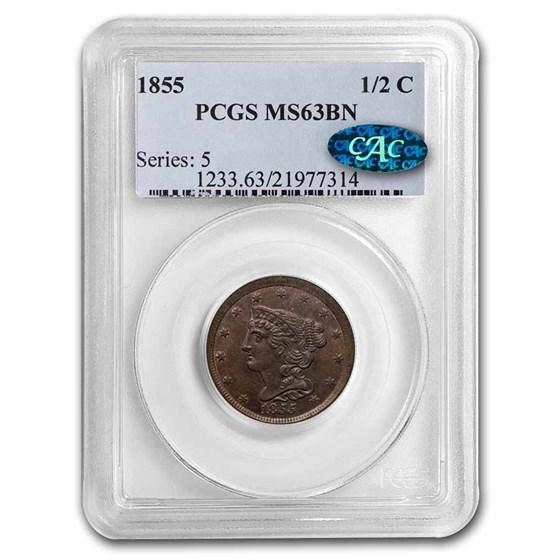 1855 Half Cent MS-63 PCGS CAC (Brown)