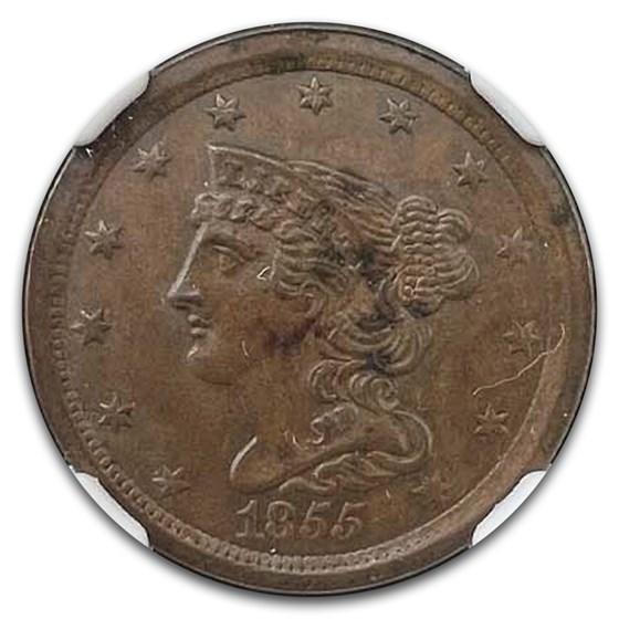 1855 Half Cent MS-64 NGC (Brown)