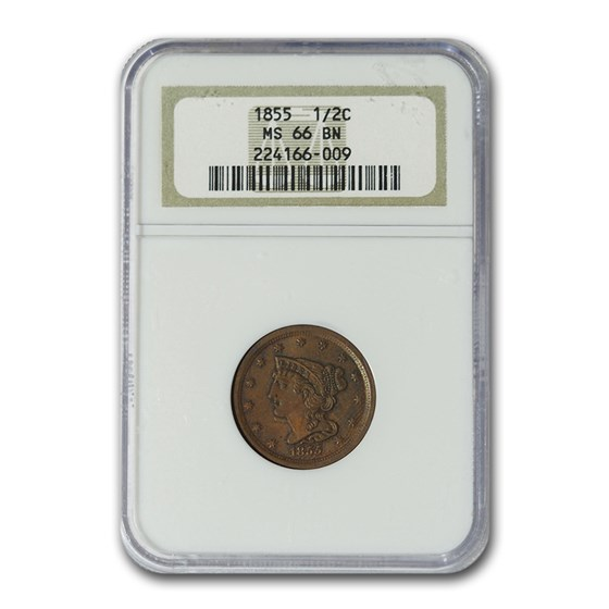 1855 Half Cent MS-66 NGC (Brown)
