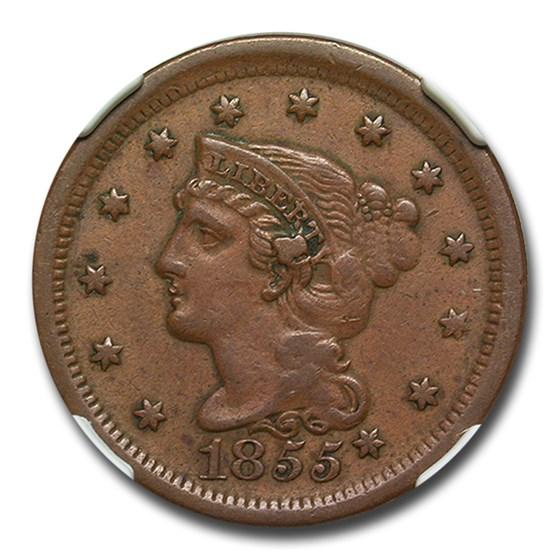 1855 Large Cent AU-50 NGC (Slanted 55)