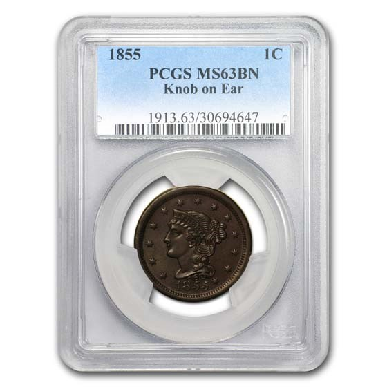 1855 Large Cent Knob on Ear MS-63 PCGS (Brown)