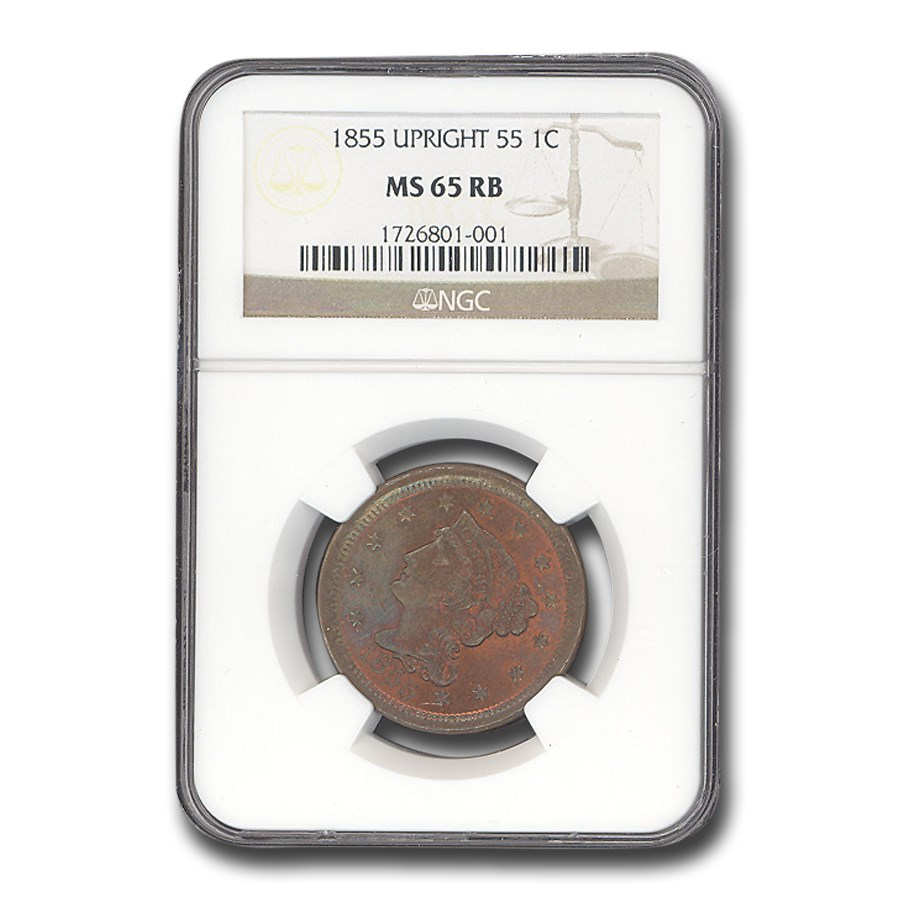 1855 Large Cent MS-65 NGC (Red/Brown, Upright 55)