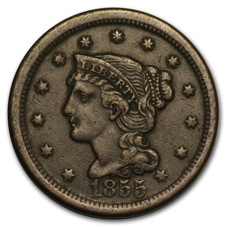 1855 Large Cent Upright 5's XF