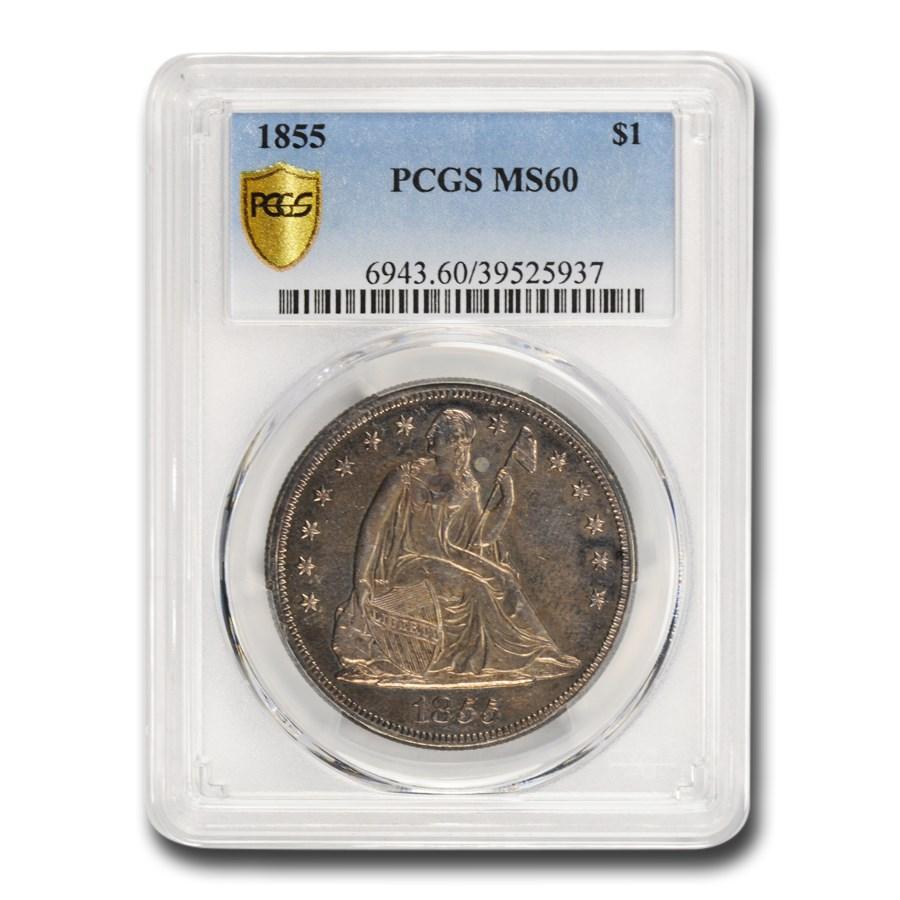 1855 Liberty Seated Dollar MS-60 PCGS