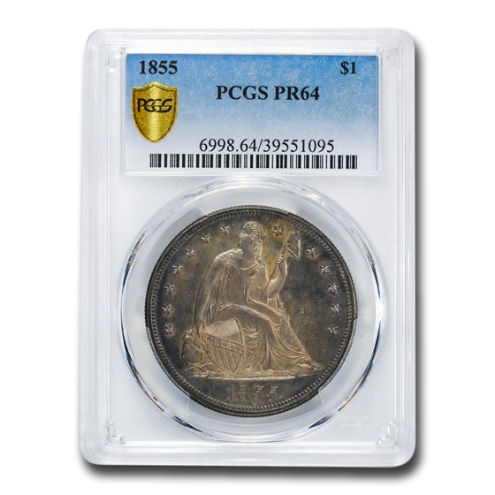 1855 Liberty Seated Dollar PR-64 PCGS