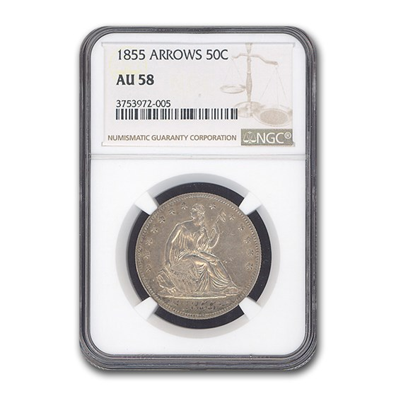 1855 Liberty Seated Half Dollar AU-58 NGC (Arrows)