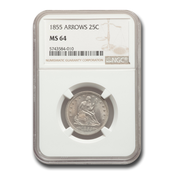 1855 Liberty Seated Quarter MS-64 NGC (Arrows)