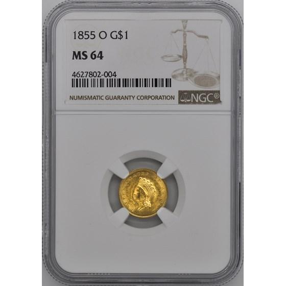 1855-O $1 Indian Head Gold Dollar MS-64 NGC