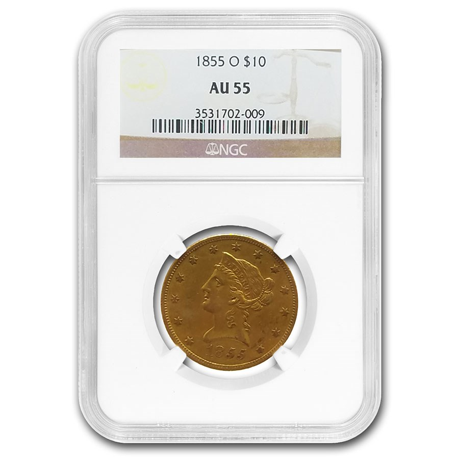1855-O $10 Liberty Gold Eagle AU-55 NGC