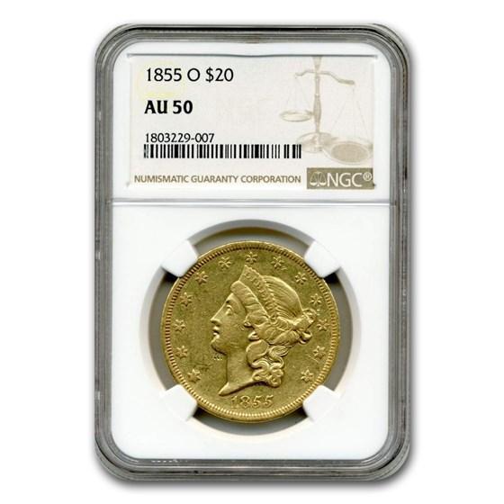 1855-O $20 Liberty Gold Double Eagle AU-50 NGC