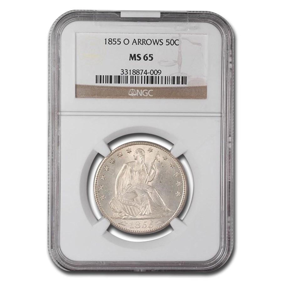 1855-O Liberty Seated Half Dollar w/Arrows MS-65 NGC