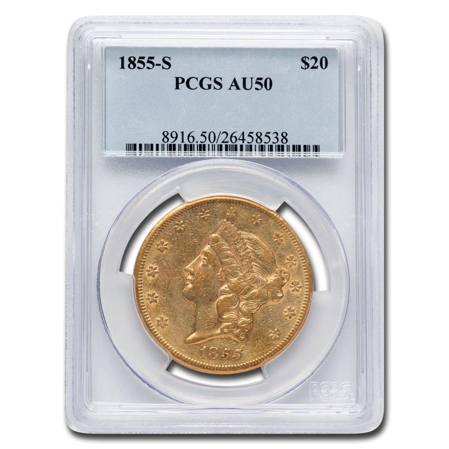 1855-S $20 Liberty Gold Double Eagle AU-50 PCGS