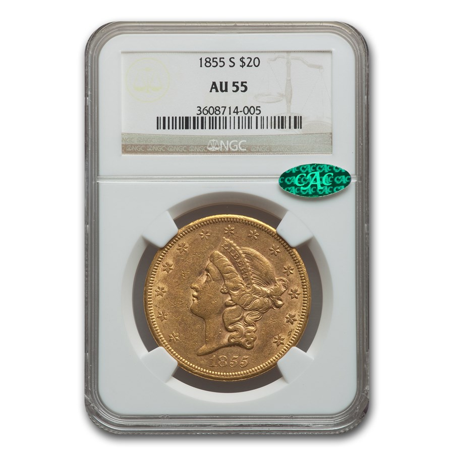 1855-S $20 Liberty Gold Double Eagle AU-55 NGC CAC