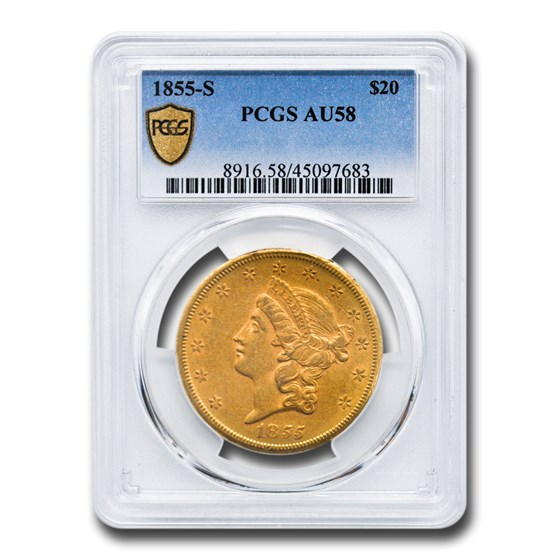1855-S $20 Liberty Gold Double Eagle AU-58 PCGS