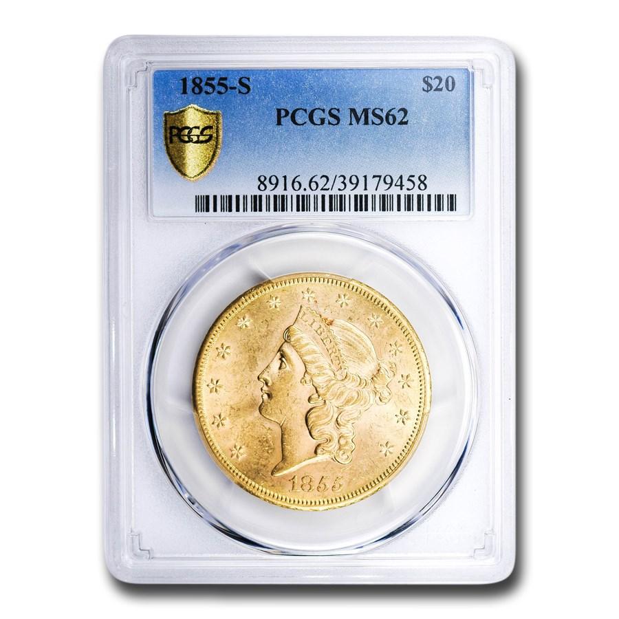1855-S $20 Liberty Gold Double Eagle MS-62 PCGS
