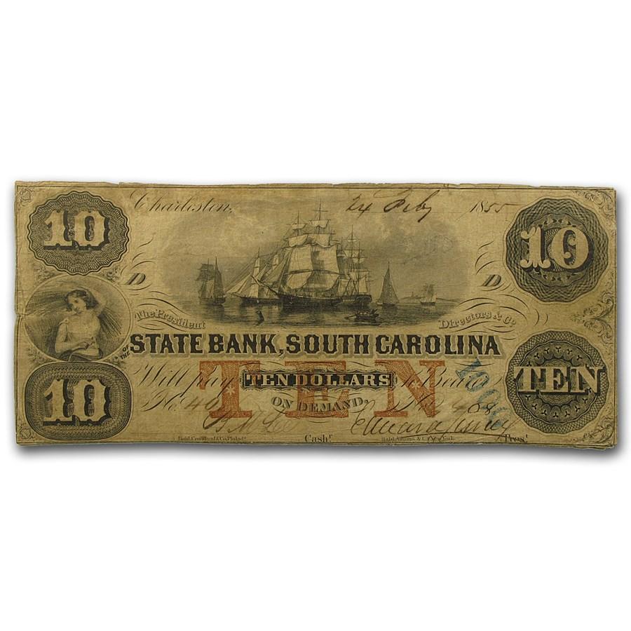 1855 The State Bank of Charleston, SC $10 VF