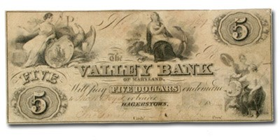 1855 The Valley Bank of Hagerstown, MD $5.00 MD-245 VF