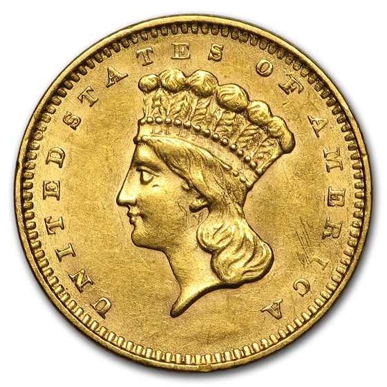 1856 $1 Indian Head Gold Dollar Type 3 Slanted 5 AU