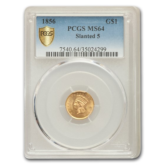 1856 $1 Indian Head Gold MS-64 PCGS (Slanted 5)