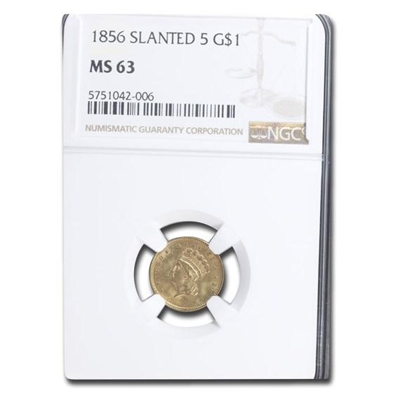 1856 $1 Indian Head Gold Type-3 MS-63 NGC (Slanted 5)
