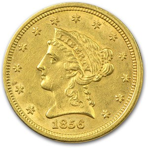 1856 $2.50 Liberty Gold Quarter Eagle AU