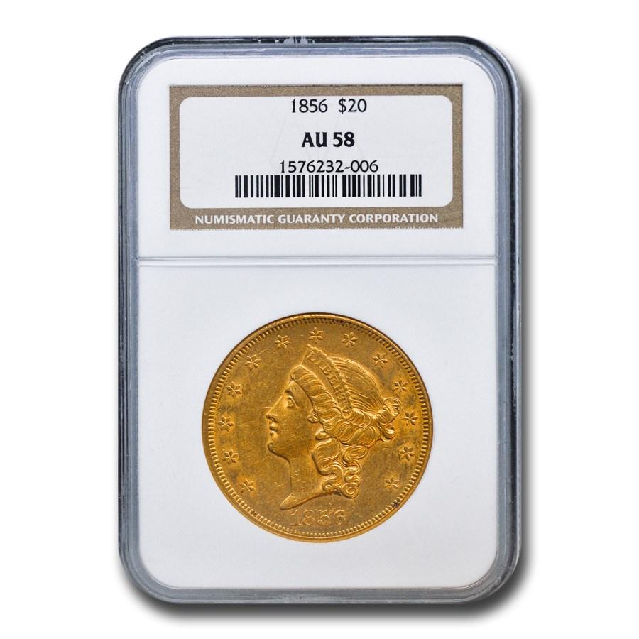 1856 $20 Liberty Gold Double Eagle AU-58 NGC