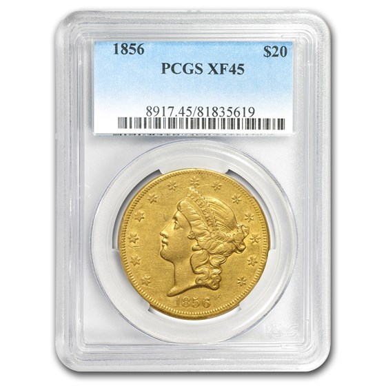 1856 $20 Liberty Gold Double Eagle XF-45 PCGS