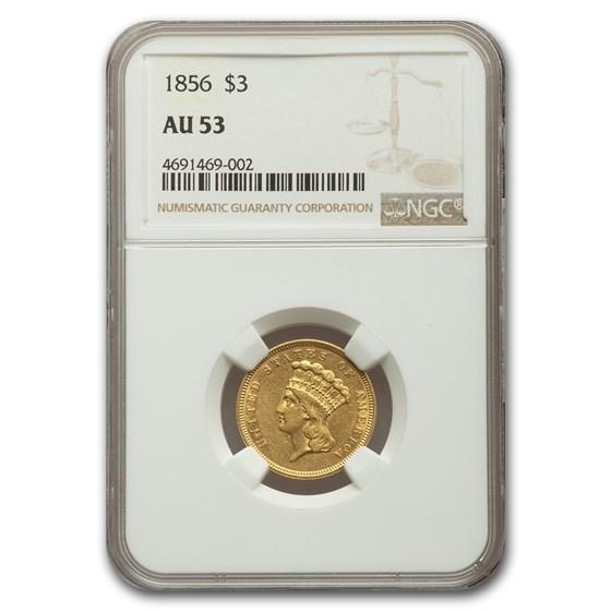 1856 $3 Gold Princess AU-53 NGC