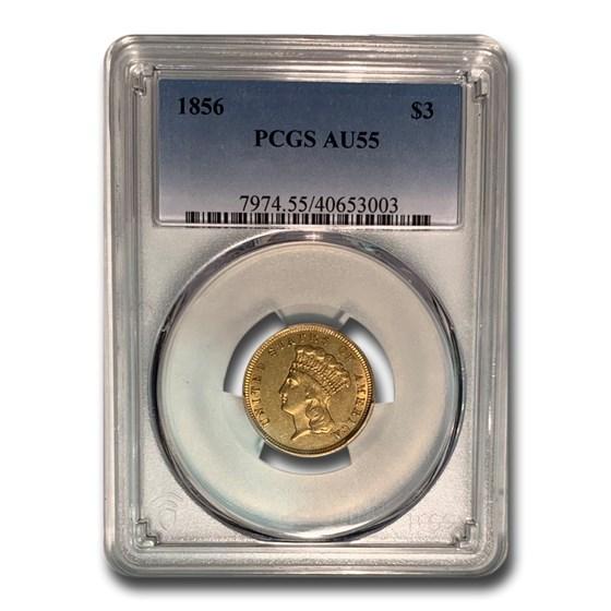 1856 $3 Gold Princess AU-55 PCGS