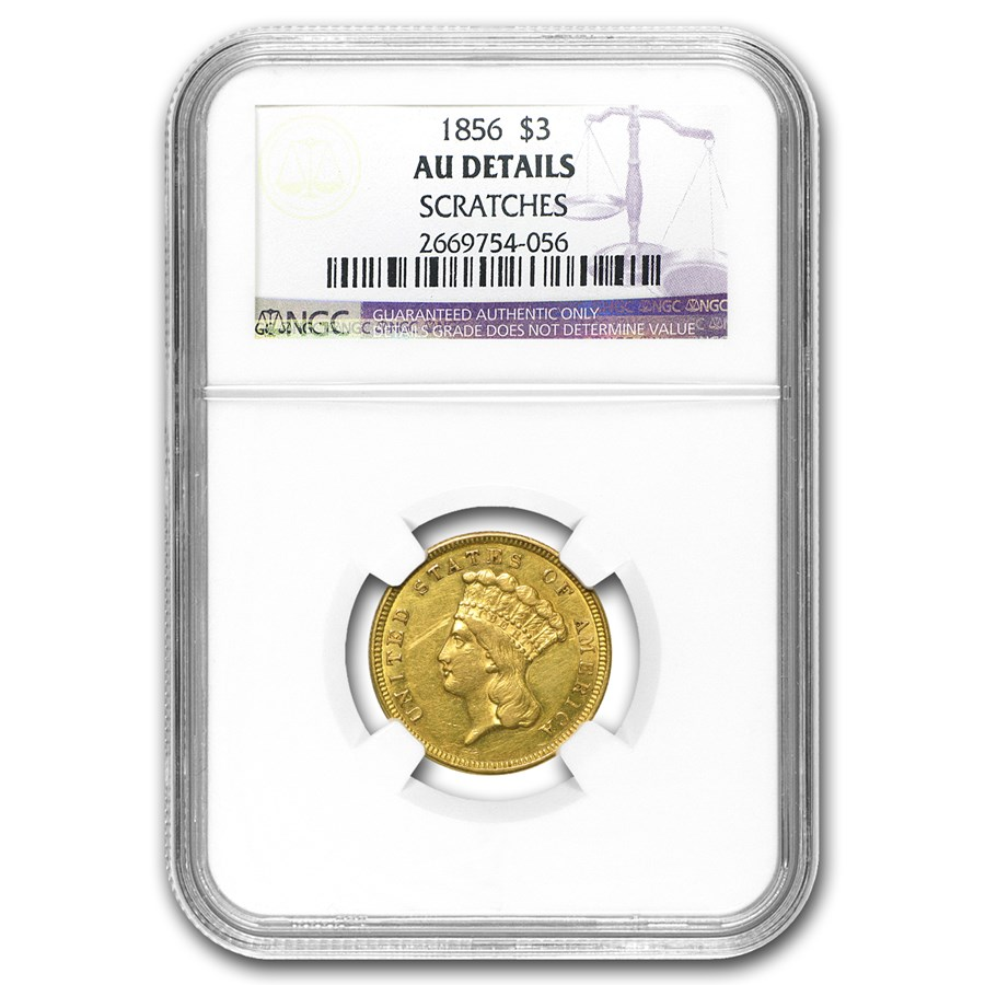 1856 $3 Gold Princess AU Details NGC (Scratches)