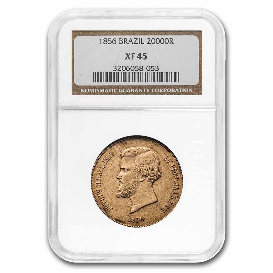 1856 Brazil Gold 20,000 Reis Pedro II XF-45 NGC