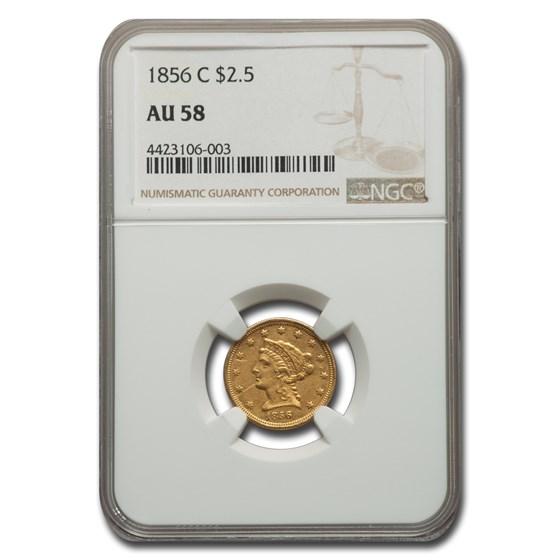 1856-C $2.50 Liberty Gold Quarter Eagle AU-58 NGC