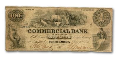 1856 Commercial Bank @ Perth Amboy, NJ $1.00 NJ-445, VG