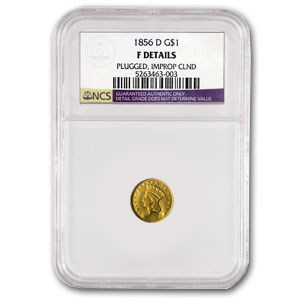 1856-D $1 Indian Head Gold Type 3 Fine Details (Plugged, Cleaned)