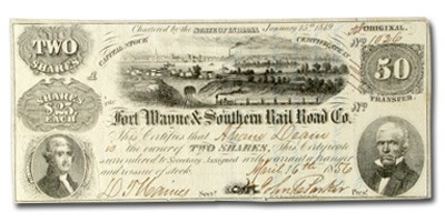 1856 Fort Wayne & Southern Rail Road Co. IN, $50 Ch VF
