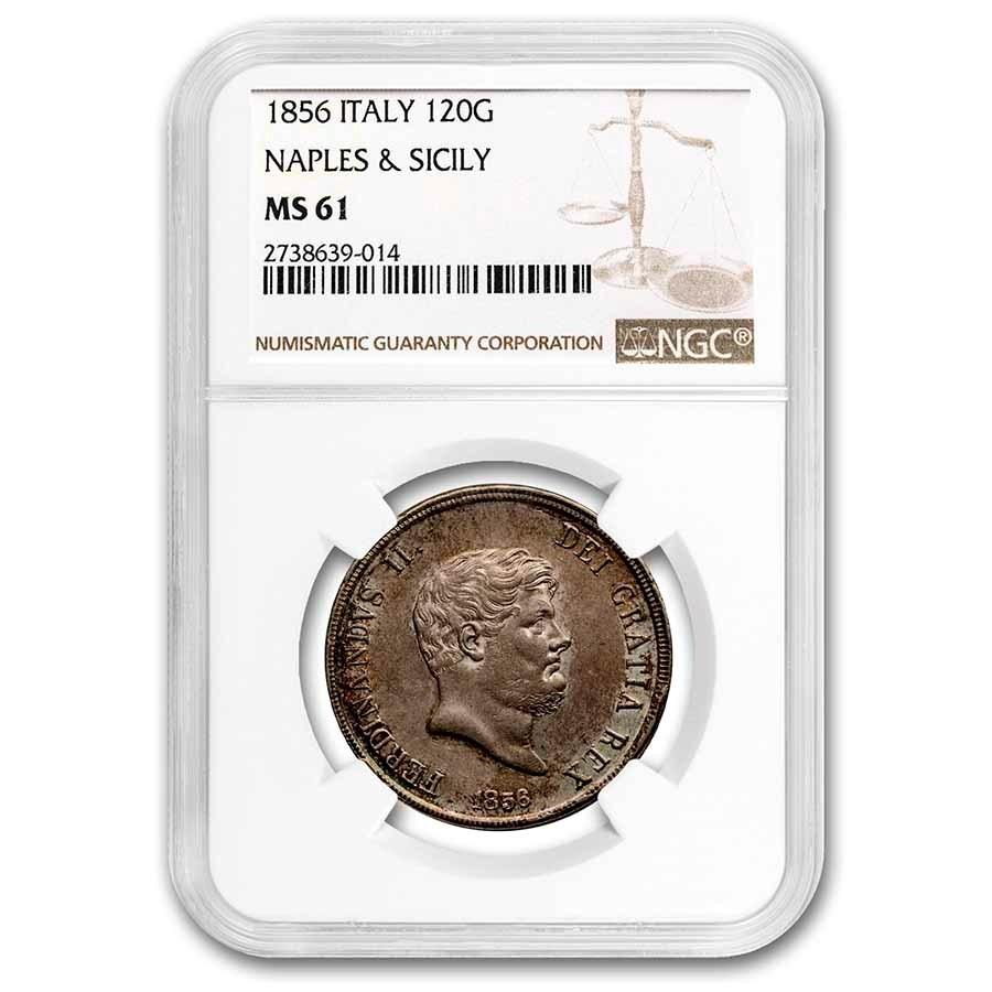1856 Italian States Naples & Sicily Silver 120 Grana MS-61 NGC
