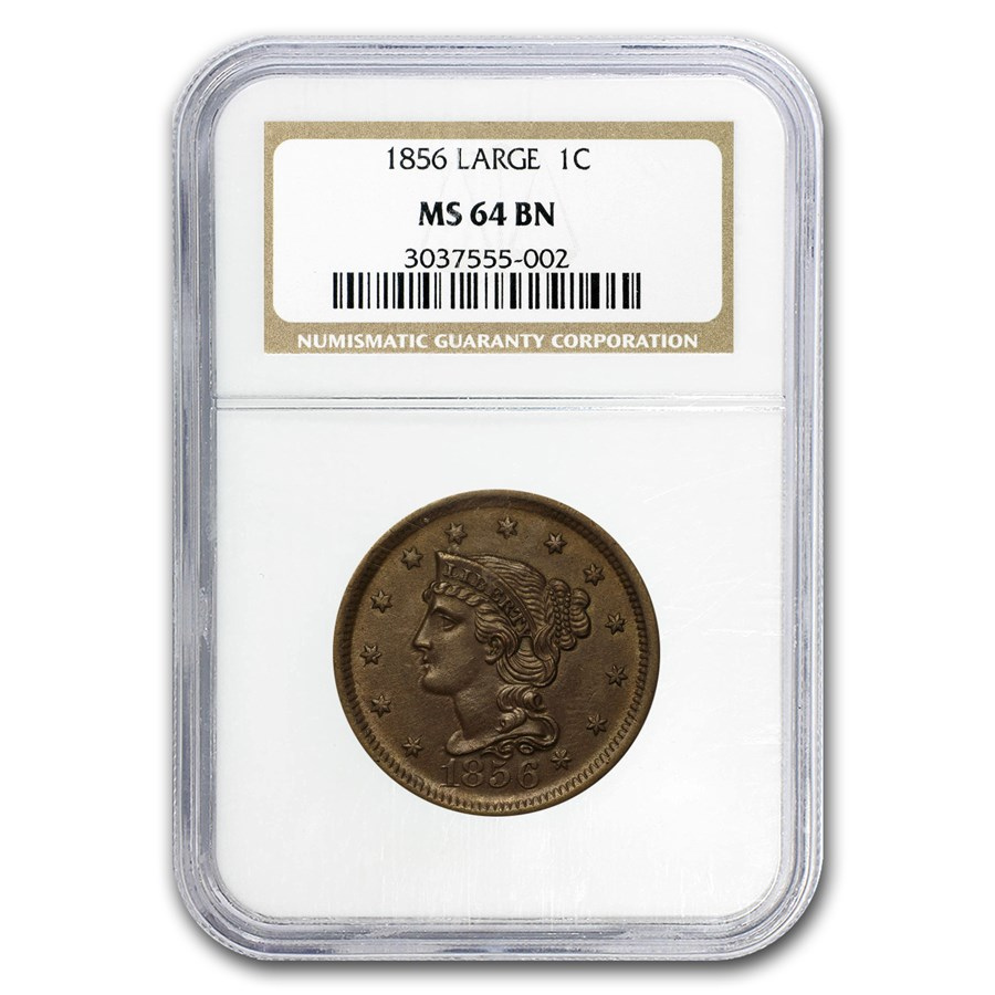 1856 Large Cent MS-64 NGC (Brown)